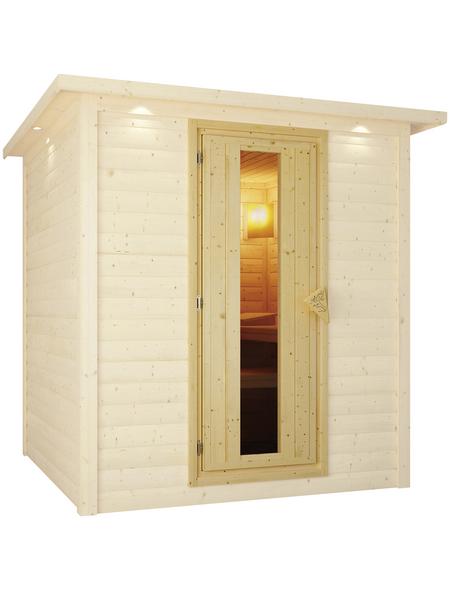 KARIBU Saunatür, LxBxH: 3,8 x 64 x 173 cm, mit Isolierglas, für 38 mm und 40 mm Saunen