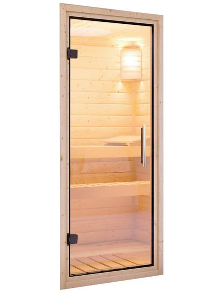 KARIBU Saunatür, natur transparent, geeignet für: Wandstärken von 68 mm, natur transparent
