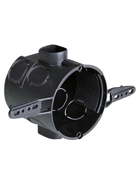Schalterdose, 2 Schraublöcher, Höhe 60 mm, D.60 mm, Schwarz