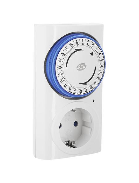 REV Schaltuhr, Premium, mit Kinderschutz u. LED-Anzeige, 230 V, Weiß/Blau