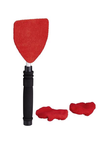 NIGRIN Scheibenreiniger, Rot | Schwarz, mit 3 Microfaserpads, teleskopierbar