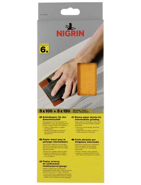 NIGRIN Schleifpapier, Körnung: p100/p150, orange