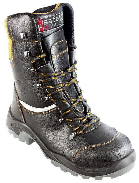 SAFETY AND MORE Schnittschutz-Stiefel, schwarz/orange, Leder/Polyester