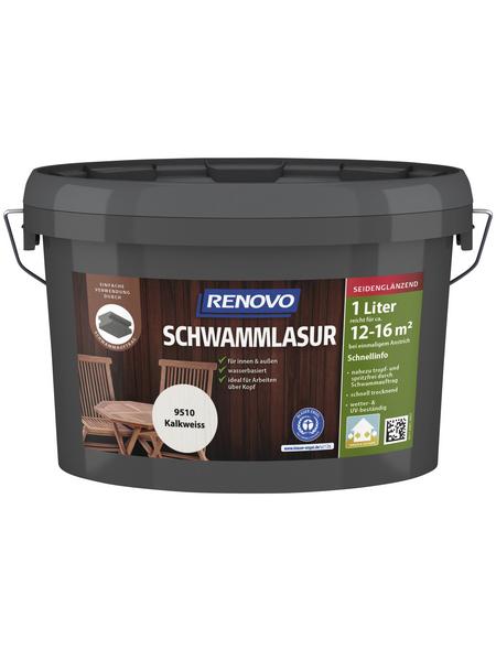 RENOVO Schwammlasur für innen & außen, 1 l, kalkweiß, seidenglänzend