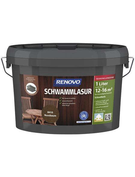 RENOVO Schwammlasur für innen & außen, 1 l, Nussbaum, seidenglänzend