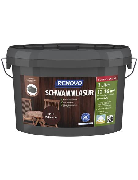 RENOVO Schwammlasur, für innen & außen, 1 l, Palisander, seidenglänzend