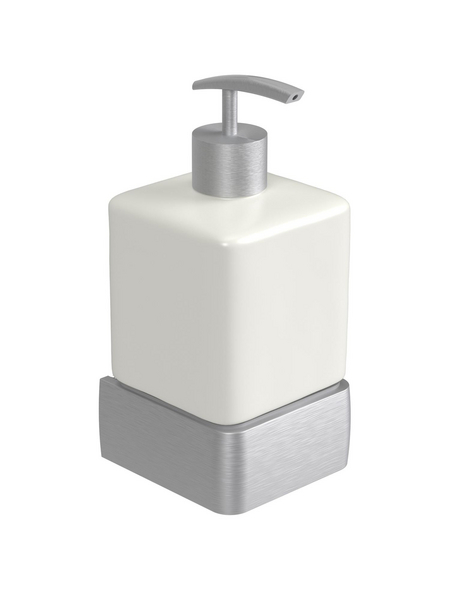 HACEKA Seifenspender »Aline«, Metall/Keramik, glänzend/gebürstet, weiß/chromfarben