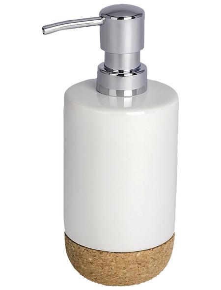 WENKO Seifenspender »Corc«, Keramik/Kork, weiß