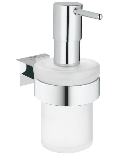 GROHE Seifenspender »Essentials Cube«, Glas/Metall, glänzend, chromfarben