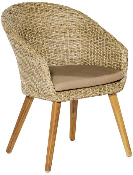 Sessel »Arrone«, BxTxH: 60  x 69  x 83  cm, Aluminium/ Akazienholz/ Kunststoffgeflecht