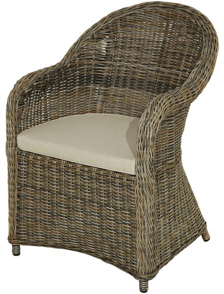 ploß® Sessel »Lambrini«, BxHxT: 67 x 87 x 60 cm, Polyrattan/Polyester/Aluminium