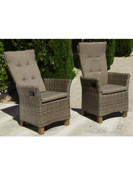 MERXX Sessel »Toskana«, BxTxH: 59  x 65,5  x 110  cm, Aluminium/ Akazienholz/ Kunststoffgeflecht
