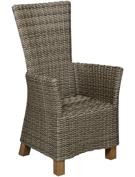 MERXX Sessel »Toskana«, BxTxH: 66  x 61  x 111  cm, Aluminium/ Akazienholz/ Kunststoffgeflecht