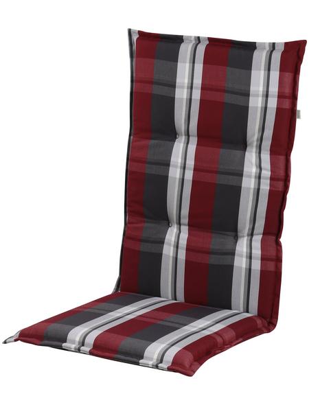 DOPPLER Sesselauflage »Comfort Light«, Niederlehner, rot/grau, kariert, BxL: 50 x 100 cm