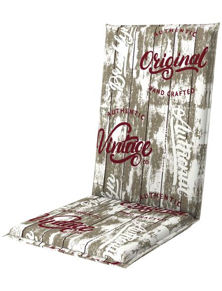 DOPPLER Sesselauflage »Living«, rot/weiss/braun, BxL: 48 x 119 cm