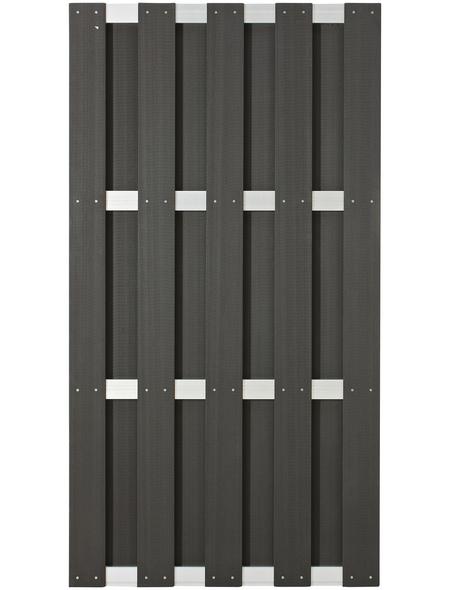 Sichtschutzzaun, WPC/Aluminium, HxL: 180 x 90 cm