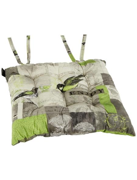 MADISON Sitzkissen »Enjoy Lime«, 1er, grau/beige/grün, tiere/floral/schriftzug, BxL: 46 x 46 cm