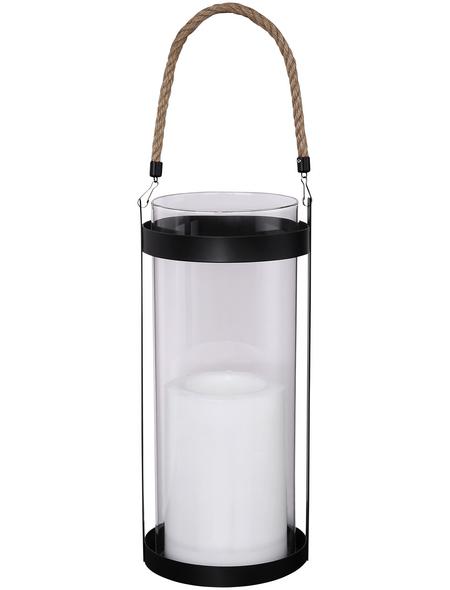 CASAYA Solarlaterne »Noelia«, zylindrisch, schwarz/transparent/weiß