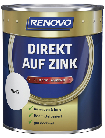 RENOVO Speziallack »Direkt auf Zink«, weiss, seidenglänzend