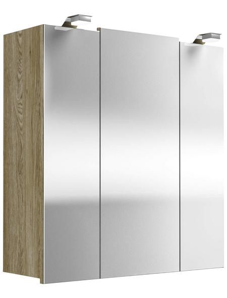 POSSEIK Spiegelschrank, 3-türig, LED, BxH: 68 x 71 cm