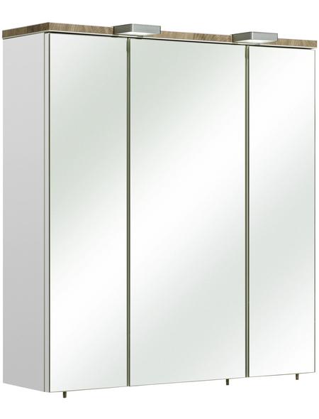 PELIPAL Spiegelschrank »Burgas«, 3-türig, LED, BxH: 65 x 70 cm