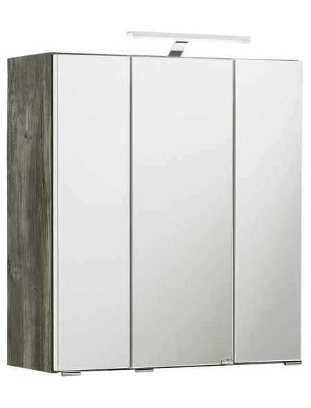 HELD MÖBEL Spiegelschrank »Capri«, 3-türig, LED, BxH: 60 x 64 cm