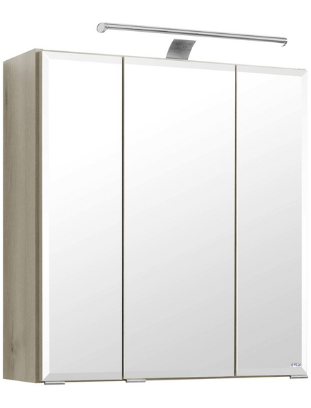 HELD MÖBEL Spiegelschrank »Fontana«, 3-türig, LED, BxH: 60 x 64 cm