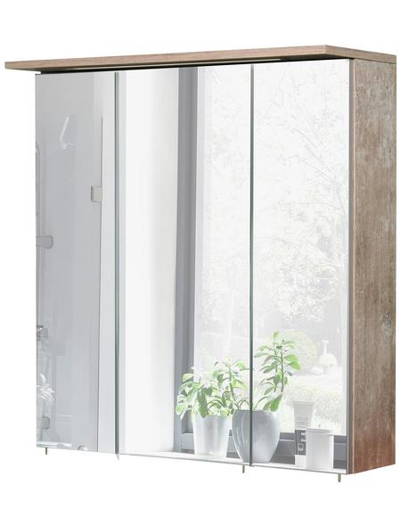 SCHILDMEYER Spiegelschrank »Milan«, 3-türig, LED, BxH: 70 x 72,3 cm