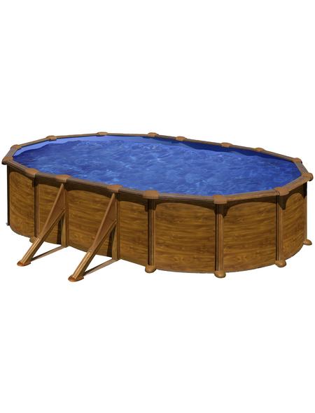 GRE Stahlwand-Pool,  oval, B x L x H: 300 x 500 x 132 cm