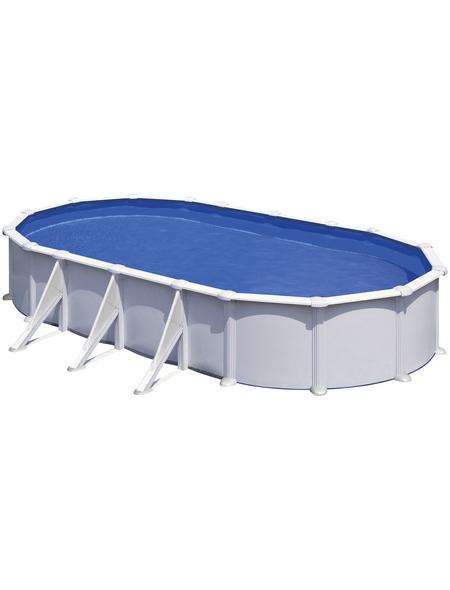 GRE Stahlwand-Pool,  oval, B x L x H: 375 x 730 x 132 cm