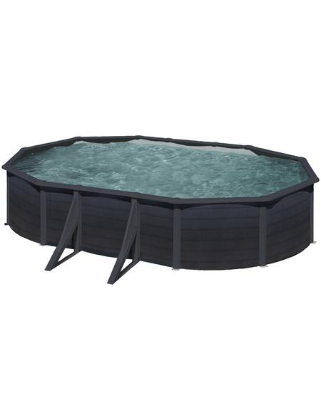 GRE Stahlwand-Pool,  oval, BxLxH: 375 x 610 x 120 cm