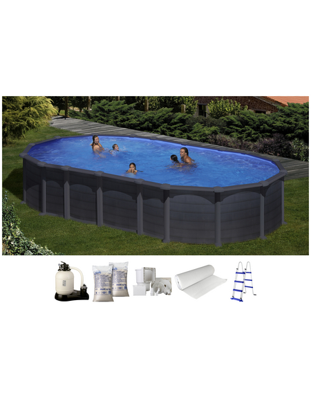 GRE Stahlwand-Pool,  oval, BxLxH: 375 x 730 x 132 cm