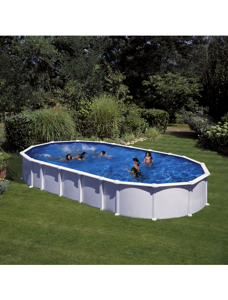 GRE Stahlwand-Pool,  oval, BxLxH: 550 x 1000 x 132 cm