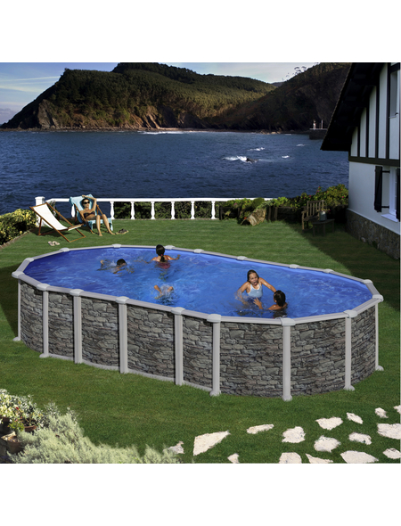 GRE Stahlwand-Pool Poolset , oval, BxLxH: 375 x 730 x 132 cm