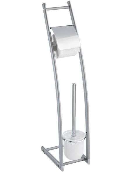 WENKO Stand WC-Garnitur, Alicante, Metall, silberfarben