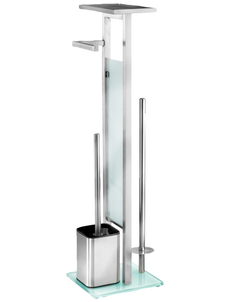 WENKO Stand-WC-Garnitur »Debar«, weiß/edelstahlfarben