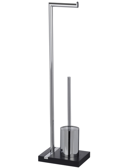 WENKO Stand WC-Garnitur, Noble, Stahl, Silber | Schwarz