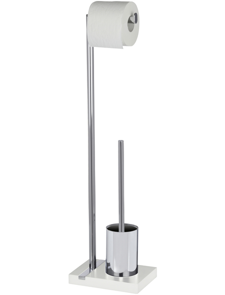 WENKO Stand WC-Garnitur, Noble, Stahl, Weiß | Silbe