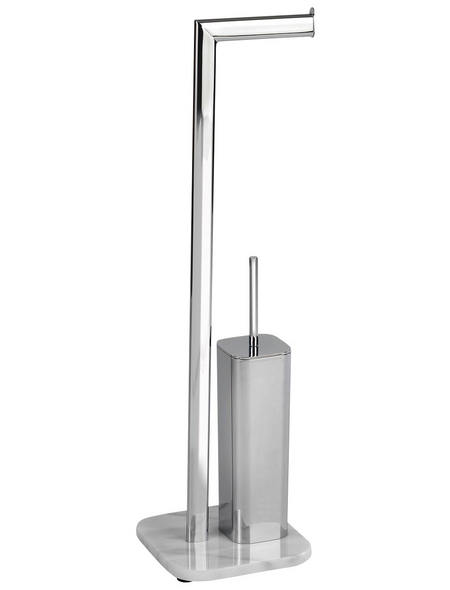 WENKO Stand-WC-Garnitur »Onyx«, weiß/chromfarben