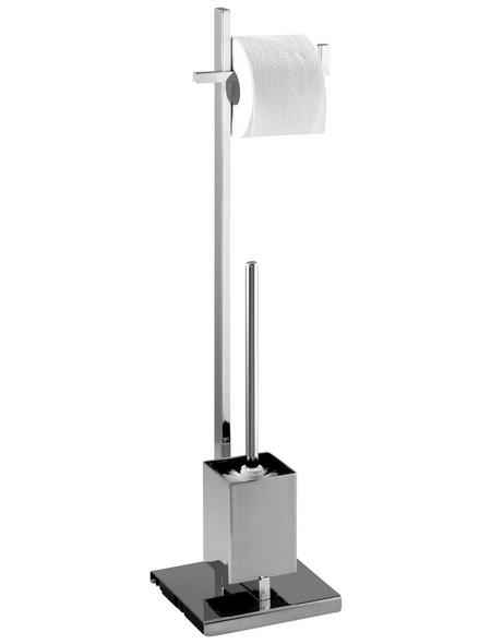 WENKO Stand WC-Garnitur, Quadro, Stahl, Silber