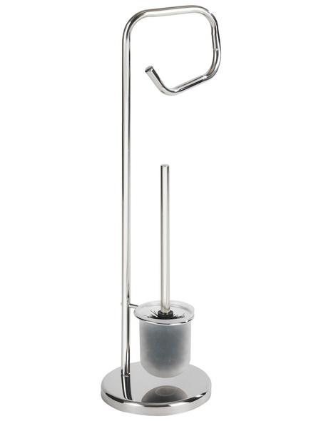 WENKO Stand WC-Garnitur, Solido, Stahl, silberfarben