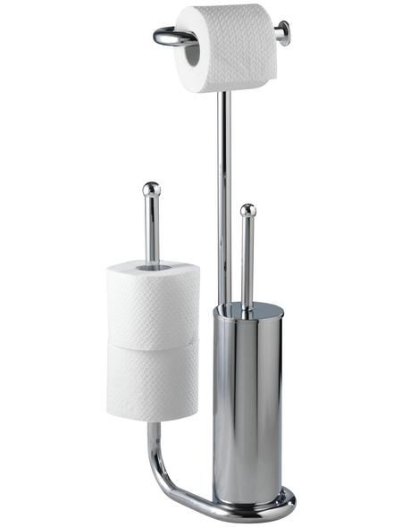 WENKO Stand WC-Garnitur, Universalo, Stahl, Silber