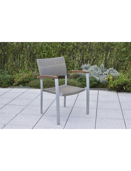 MERXX Stapelsessel »Silano«, BxTxH: 60,5 x 66 x 84 cm, Aluminium/ Kunststoffgeflecht/ Akazienholz