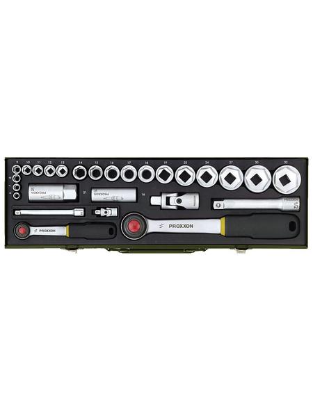 PROXXON Steckschlüsselsatz »Industrial« 27-teilig, Schlüsselgröße: 6,3 Vierkant und 12,55 Vierkant mm