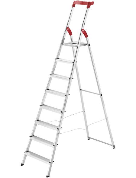 HAILO Stehleiter, 8 Stufen, Aluminium/Kunststoff