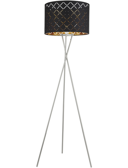 GLOBO LIGHTING Stehleuchte »CLARKE« schwarz/nickelfarben mit 60 W, H: 160 cm, E27 ohne Leuchtmittel