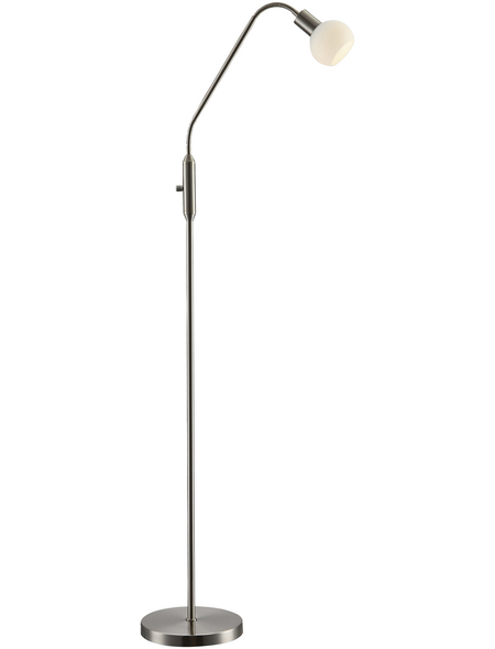 Stehleuchte nickelfarben mit 5 W, H: 148,5 cm, LED  in Warmweiß