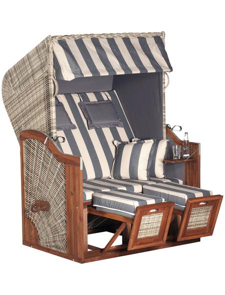 SUNNY SMART Strandkorb »Rustikal 285 Z Sun Edition«, BxHxT: 125 x 160 x 85 cm, Dreiviertelllieger,grau/natur