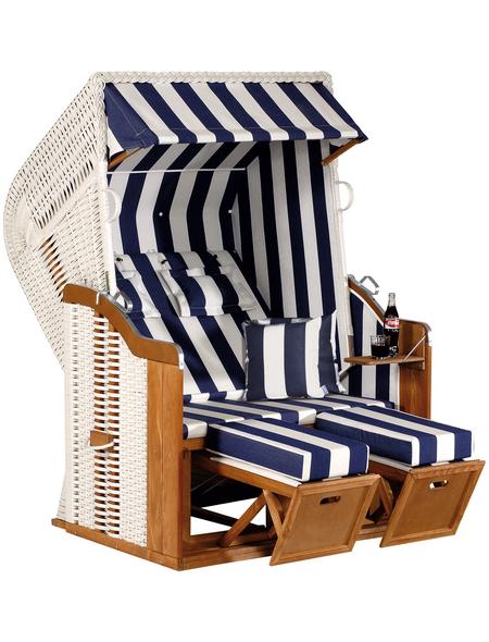 SUNNY SMART Strandkorb »Rustikal«, BxHxT: 125 x 160 x 90 cm, Halblieger, weiß/natur