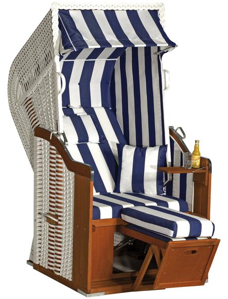 SUNNY SMART Strandkorb »Rustikal«, BxHxT: 95 x 160 x 90 cm, Halblieger, weiß/natur